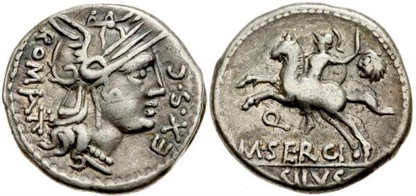 A denarius from the good old days of the Republic. Roma adorns the obverse, while an ancestor of moneyer M. Sergius Silus rides around carrying a sword and the head of an unfortunate Gallic warrior (this despite having lost an arm in battle).