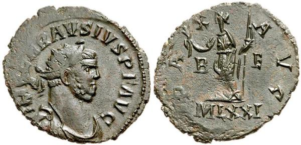This is actually one of the good examples of an antoninianus from usurper Carausius. His coins are generally so distorted and ugly, they're indistinguishable from contemporary barbarian imitations of Roman coinage.