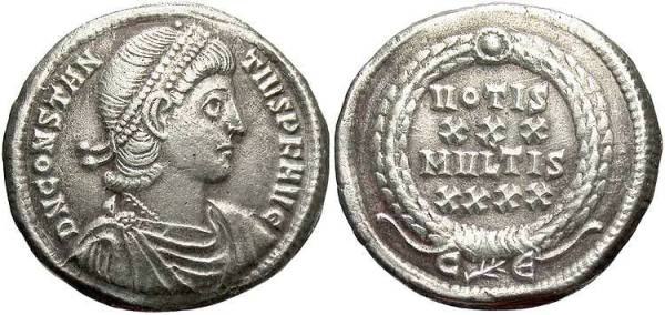 This siliqua of Constantius II survived to modern times without being clipped or shaved.