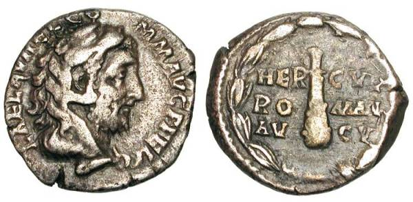 Somewhat shabby, but good as a denarius from Commodus goes. Note the lionskin headdress and club that equates him with Hercules. He thought he was Hercules reborn. What an asshole.