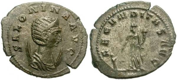 This issue in the name of Salonina, Gallienus' wife, was more typical of the transition. The style and strike is notably weaker, the base metal more in evidence, but some of the silver wash remains. Example get much much worse from here on out.