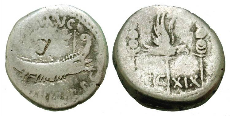 A debased and unloved denarius from Mark Antony's military mint. Despite the wear, it's still easily identifiable as having been issued in the name of the 19th Legion.