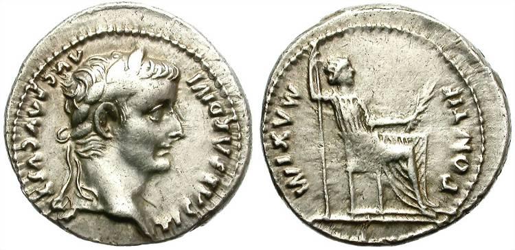 An imperial denarius of Tiberius, still a few emperors away from initial debasement.