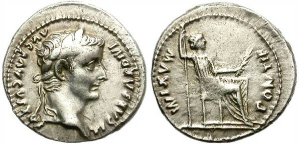 An imperial denarius of Tiberius, still a few emperors away from initial debasement.