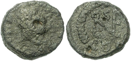 Only 11mm wide, this AE4 of Leo I goes to show why something had to be done about the pathetic remnants of a once-proud coinage. At least this one is identifiable by visibly monogram on the reverse. Rare for its time and type.