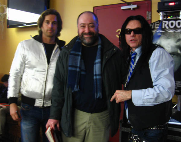 Film industry titans, Greg Sestero, myself and Tommy Wiseau. Photo by Lucinda Davis. NB: Greg is wearing a knockoff of the scorpion jacket worn by Ryan Gosling in Drive. Unless, of course, he defeated Gosling in a duel and skinned him alive.